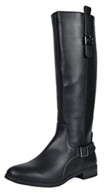 TOETOS Women's Sam Black Faux Leather Knee High Winter Riding Boots Size 5.5 M US
