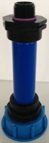 'cms60290r290 Tube d'écoulement avec tube plastique DN32, 100 mm AG 1 et un übergangsnippel, IBC Adaptateur de réservoir d'eau de pluie de Accessoires de conteneurs Mamelon de Bidon