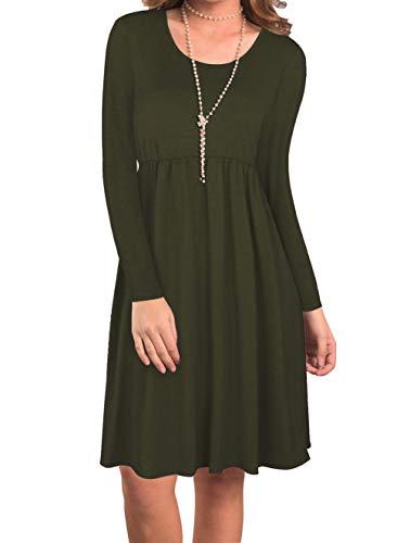 SHYSBV jurk dames jurk ronde hals lange mouwen slim jurk Large legergroen