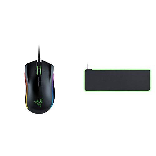 Razer Mamba Elite Gaming Maus (mit 9 programmierbaren Tasten, RGB Chroma und bis zu 16.000 DPI) & Goliathus Chroma weiches RGB Gaming Mausmatte