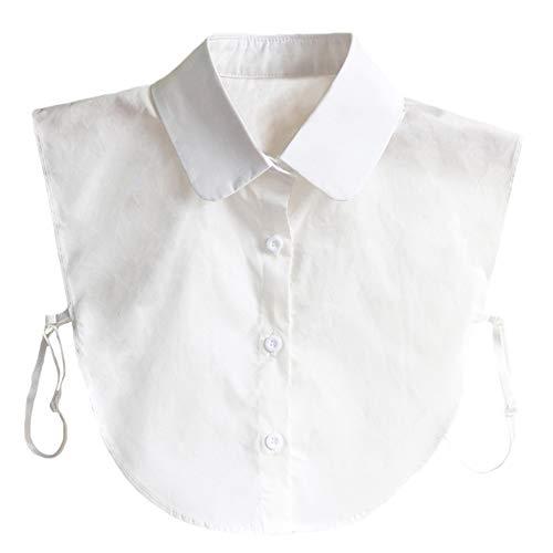 DELEY Damen Fashion Fälschungs Kragen Abnehmbarer Halb Hemd Bluse Krawatte 02-Weiß