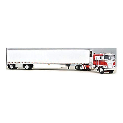 1/64 DCP Red and White Kenworth K-100 110 FT Cab with Spread Axle Utility Reefer by First Gear 60-0898