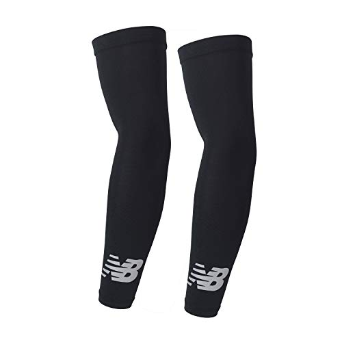 New Balance Unisex Outdoor Sports Compression Arm Sleeves, Arm Warmer, Black and White (1 Pair) Kentucky