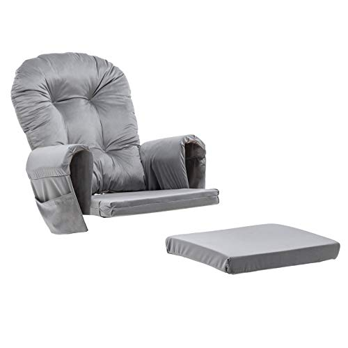 Paddie Glider Rocking Chair Replacement Cushions Velvet Washable for Chairs & Ottoman, Light Grey