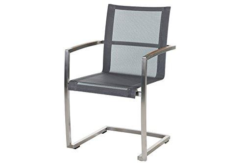 Diamond Garden Venedig Freischwinger Stuhl Gartenstuhl in edlem schwarz Silber, aus solidem Edelstahl und Sitzfläche aus hochwertigem Textil, 55 x 56 x 90,5 cm, Teak-Armlehnen, stapelbar, wetterfest