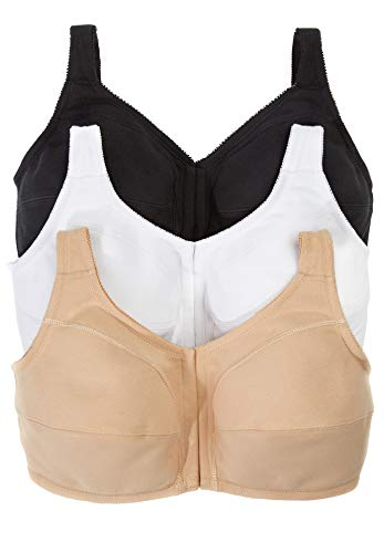 Comfort Choice Women's Plus Size 3-Pack Front-Close Cotton Wireless Bra - 54 C, Basic Assorted