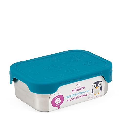 Affenzahn Edelstahl Brotdosen-Set - Kinder Brotdose aus Edelstahl, bpa-frei für Jungen und Mädchen, im Kindergarten und Kita als Lunchbox - Hai - Silber