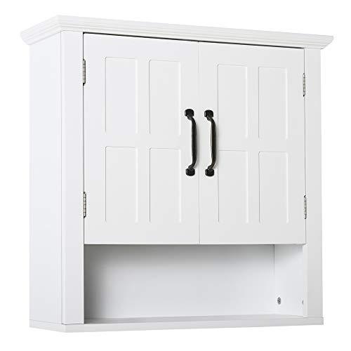 HOMCOM Badschrank Küchenschrank Hängeschrank Badezimmerschrank Badregal Wandschrank vestellbarer Einlegeboden Holz Weiß 60 x 19,8 x 58 cm