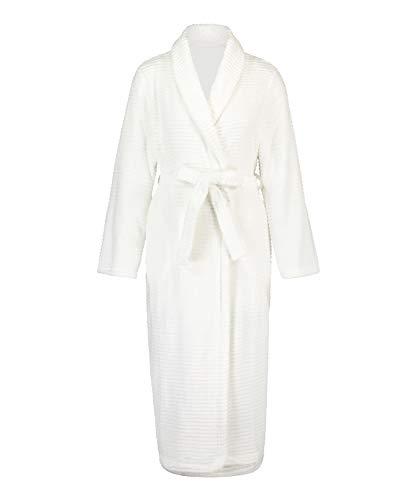 HUNKEMÖLLER Weicher, Langer Fleece-Morgenrock für Damen Weiß M/L