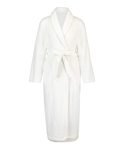 HUNKEMÖLLER Weicher, Langer Fleece-Morgenrock für Damen Weiß XL/XXL