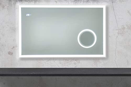 Badspiegel Sofia met verlichte make-upspiegel, klok en LED-verlichting badkamerspiegel wandspiegel lichtspiegel (120 x 60 cm (B x H))