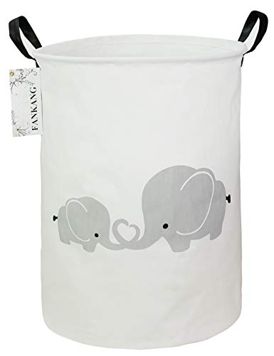FANKANG Laundry Hamper Storage Bins Nursery Hamper Canvas Foldable Large Storage Baskets for Kids Toys Room, Nursery, Home, Gift Basket, Office, Bedroom (Love Elephant)