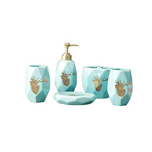 Kleine Badezimmerkeramik-Kits, exquisite Handwerks Badezimmerzubehör Set Kreatives Licht Luxus Badezimmer Wäsche Badezimmer Set Keramik Wäsche Fünf-teiliges Set Haus Haushalter Set Zahnbürstenhalter