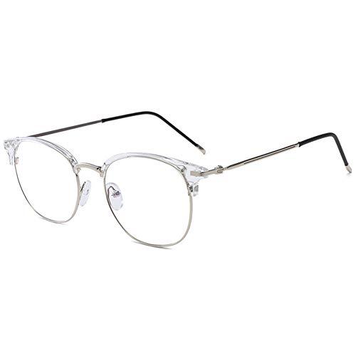 KOOSUFA 50er Jahre Retro Blaulichtfilter Brillen Anti Blaulicht Brillen Ohne Sehstärke Herren Damen Computer Gaming Brillen Anti Müdigkeit Halbrahmen Mode Brillengestelle mit Etui (Durchsichtig)