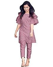 HAVIYA Women's Cotton Readymade Salwar Suit (LF-Moti Pink -L_Pink_Large)