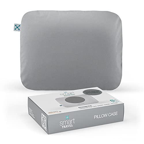 smartsleep® Funda de almohada Smart Travel, funda de almohada de ajuste perfecto para el Smart Travel Pillow I 100% algodón I Suave y agradable para un buen sueño I Color Gris