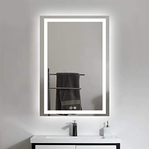 Muyimo 24 x 32 in Horizontal & Vertical LED Lighted Vanity Bathroom Wall Mounted Smart Silvered Mirror with Light High Lumen+CRI 95 Touch Button Anti-Fog+Dimmable (NC40-2432F)