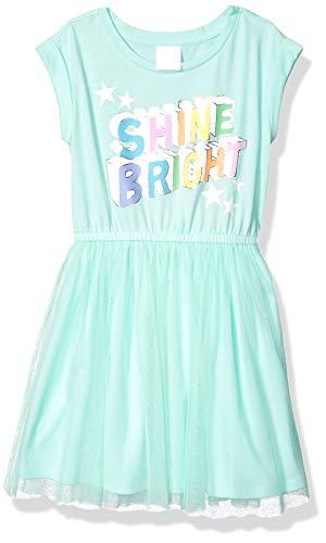 Amazon Brand - Spotted Zebra Kids Girls Knit Short-Sleeve Tutu Dress, Shine Bright, Medium
