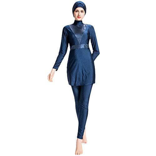 Lazzboy Frauen Muslimischen Badeanzug Mit Kappe Volltonfarbe Beachwear Bademode Muslim Islamischen Für Hijab Badebekleidung Full Deckung Schwimmen(Marine,S)
