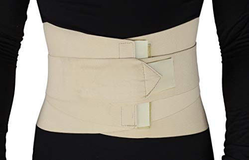 ObboMed MB-2530M Back, Lumbar, Abdominal Support Wrap Brace Belt with 4 Metal Stays Splints, Extra Double Side Straps Adjustable for Posture, Belly, Waist, Spine, Back Pain Relief (M: 34-37 inches)
