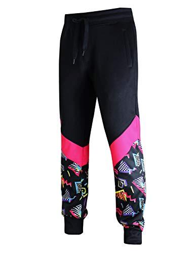 SCREENSHOT-P11963 Mens Premium Hip Hop Fashion Pockets Fleece Pants - Slim Athletic Jogger Fitness 80's Retro Print Utility Sweatpants-Black/Pop-3XLarge