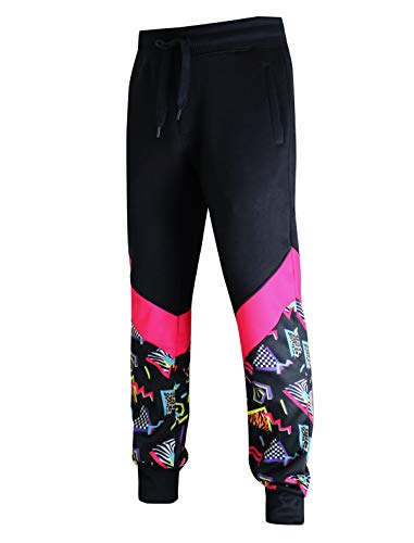 SCREENSHOT-P11963 Mens Premium Hip Hop Fashion Pockets Fleece Pants - Slim Athletic Jogger Fitness 80's Retro Print Utility Sweatpants-Black/Pop-Medium