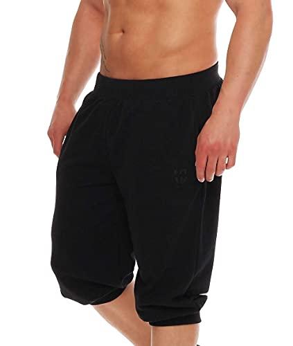Gennadi Hoppe Herren 3/4 Jogginghose Trainingshose Sporthose Bermuda Sport Shorts Kurze Hose Capri Hose, schwarz, schwarz