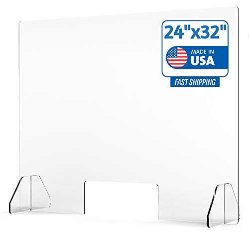 Protective Sneeze Guard for Counter and Desk - Freestanding Clear Acrylic Shield for Business and Customer Safety, Portable Plexiglass Barrier, Food Screen, Pass Through Transaction Window (24'x32')
