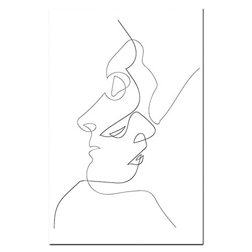 SJDY Malerei Kalligraphie Minimalistischen Küssen Wandkunst Paar Kuss Poster Drucke Eine Linie Zeichnung Leinwand Malerei Liebe Definition Wand Poster Schlafzimmer Kunst Hauptdekorationen
