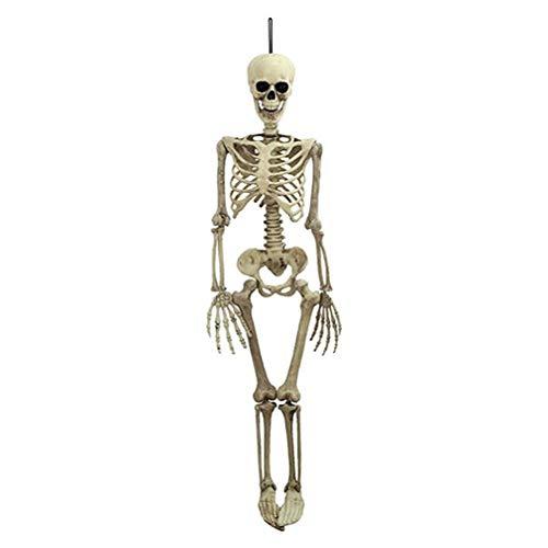 Esqueleto de Halloween - Decoraciones Infantiles (tamaño pequeño) - Humanos Real Huesos Cuerpo con Articulaciones Ajustables - Resistente al Agua para Interiores / Exteriores (Blanco , 38x12cm)