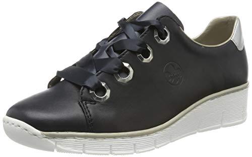 Rieker 53704-14 Obermaterial Leder, Zapatos de Cordones Derby para Mujer, Azul (Navy/Silver 14), 38 EU