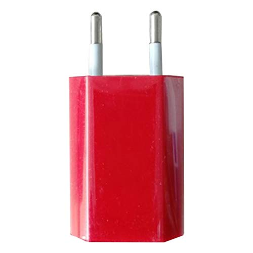 Cargador de Pared USB Adaptador de Cargador 5V 1A Un Solo Puerto USB Enchufe de Cargador rápido (Rojo UE)