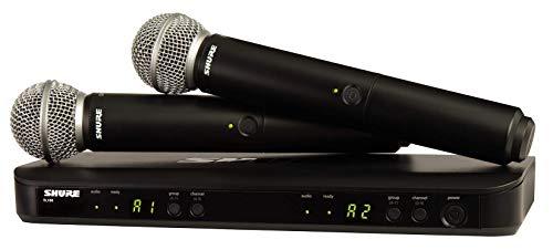 SHURE BLX288E/SM58 - Sistema inalámbrico de 2 canales con 2 micrófonos dinámicos SM58