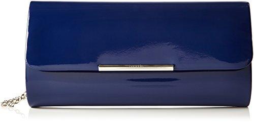 Berydale Damen Lack Handtasche, Clutch Schultertasche mit Zusatzkette und Magnetverschluss, Blau/Navy