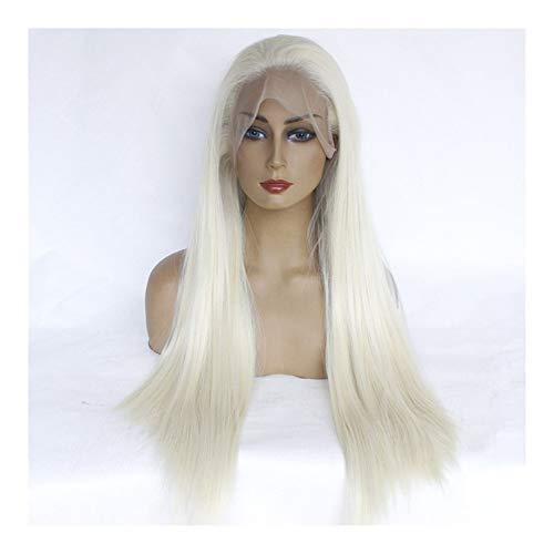 MADONG Perruque de mode européenne et américaine cheveux longue ligne droite pleine perruque de dentelle pleine crochet (Color : Grey)