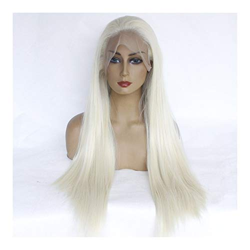 JIANGJINLAN Perruque de mode européenne et américaine cheveux longue ligne droite pleine perruque de dentelle pleine crochet (Color : Grey)