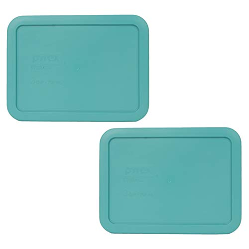 Pyrex 7210-PC 3 Cup Turquoise Rectangle Plastic Food Storage Lid - 4 Pack