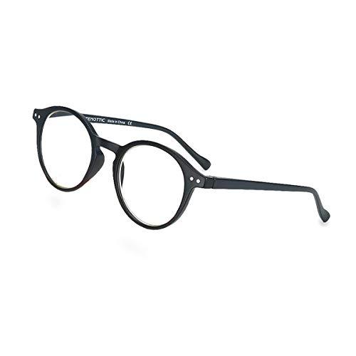 ZENOTTIC Occhiali da Lettura Presbiopia Anti Luce Blu con Lenti Antiriflesso Uomo e Donna Leggero Telaio Rotondo Vintage Occhiali (NERO, 1.50x)
