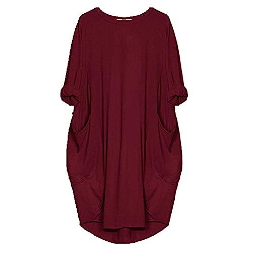 N\P Vestidos de verano Casual vestido de longitud media más el tamaño de las mujeres de bolsillo, 26, 5X-Large