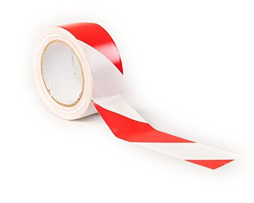 Gefahr Warnung Klebeband, 33 m x 50 mm (5,1 cm) - selbstklebend Markierungsband, hochwertige Rolle von gocableties (Rot/Weiß)