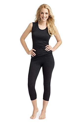 con-ta Thermo Achselhemd, Trägertop mit natürlicher Baumwolle, wärmende Unterwäsche für Damen, Rundhalsausschnitt, Damenbekleidung, schwarz Melange, Größe: 38