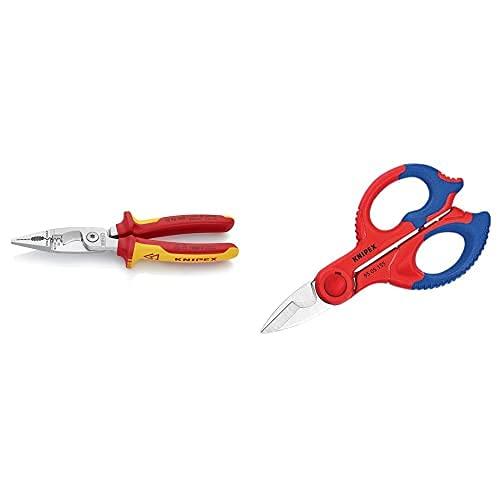 Knipex Alicate Para Instalaciones Eléctricas Aislado 1000V (200 Mm) 13 86 200 + Tijeras Para Electricistas (155 Mm) 95 05 155 Sb (Cartulina Autoservicio/Blíster)