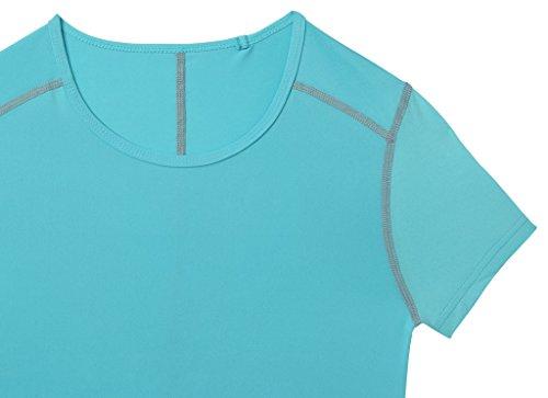 TCA Superthermal Quickdry Damen Laufshirt/Funktionsshirt mit Rundhalsausschnitt – Hellblau, XL - 5