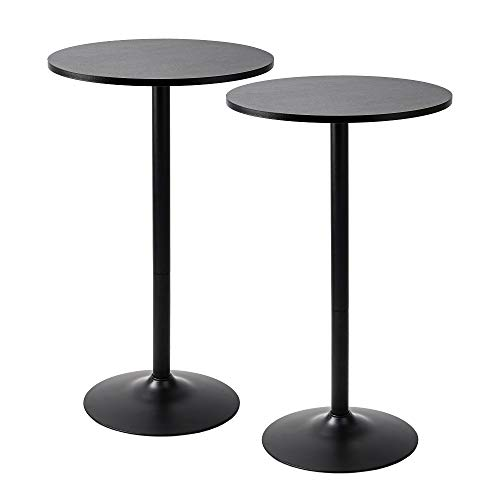 Pearington Santina 2 Pack Round Bar and Pub Table, Black