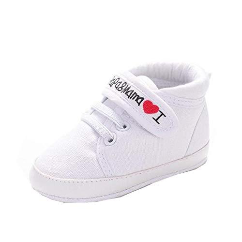 Amison Niedlich Baby Säugling Kind Junge Mädchen weiche Sohle Leinwand Sneaker Kleinkind Schuhe (12-18 Monate, Weiß)