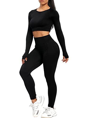 RIOJOY Damen Sportanzug Sport Outfit Seamless Workout Fitness Set, Leggings mit Crop Top Oberteil Zweiteiler Trainingsanzug Jogginganzug, Schwarz XL