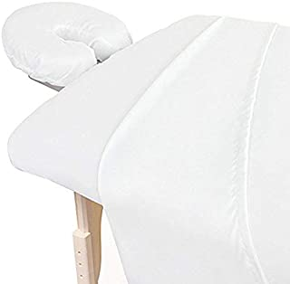 Decent Collection Heavy Quality 3-Piece Massage Table Spa Sheet Set Super Soft 1500-TC Cotton Facial Bed Cover - Includes Flat and Fitted Sheets with Face Cradle Cover (White Color, Solid Pattern)