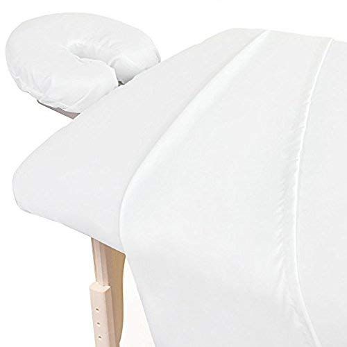 Amazon Best 3-Piece 600 Thread-Count Egyptian Cotton Massage Table Sheet Set - Soft Cotton Facial Bed Cover - Includes Flat and Fitted Sheets with Face Cradle Cover Fabulous Looking White Color