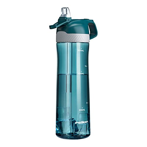 PTHZ Botella de Agua Deportiva, Taza de Agua de plástico tritan a Prueba de Fugas con Pajita, sin BPA y diseño de Apertura de una tecla, Utilizada para Deportes y Fitness (700 ml),Blue Gray