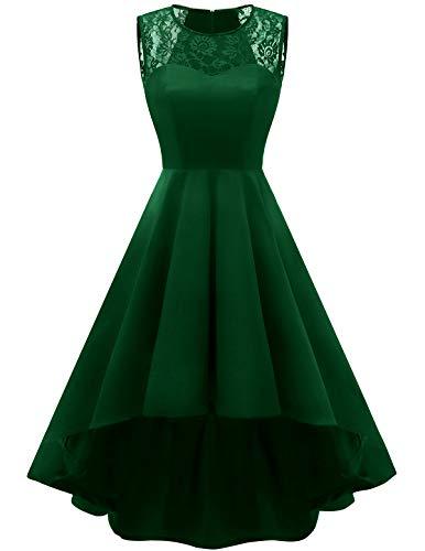 HomRain 1950er Vintage Retro Cocktailkleid Rockabilly Faltenrock Elegant Spitzenkleid Hi-Lo Abendkleider Swing Partykleid Green L